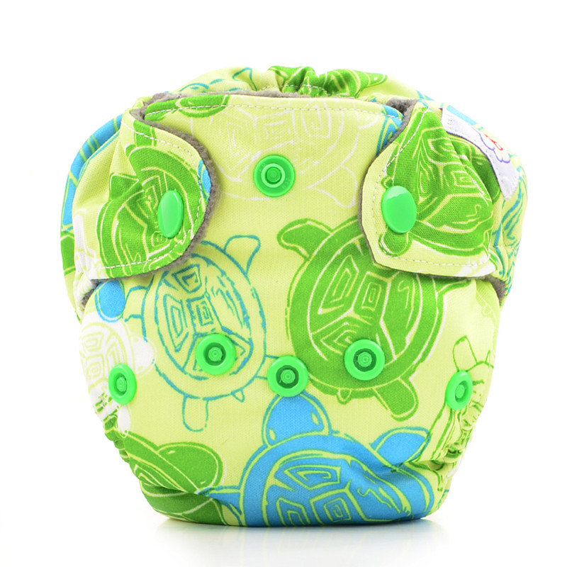 10pcs Happy Flute Newborn Diapers, Washable Reusable Tiny AIO Cloth Diaper, Bamboo Charcoal Double Gussets Fit 3 – 5KG Baby