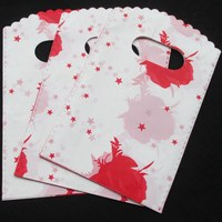 500 개/몫 큰 붉은 꽃 작은 별 플라스틱 선물