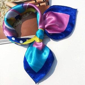 50*50 см Высококачественный шелковый шарф женский маленький мягкий квадрат декоративный головной платок многоцветный полосатый платок с принтом на шею 18Oct