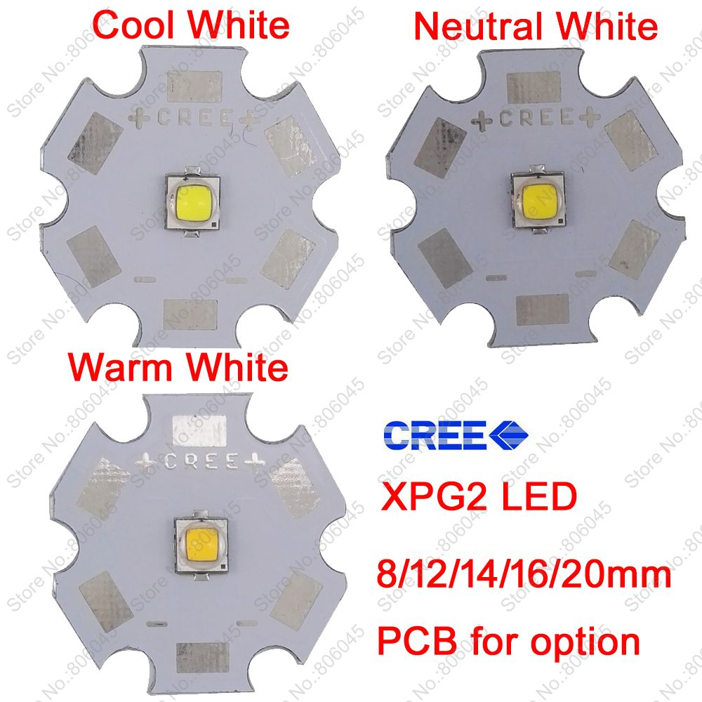 10x 5W Cree XPG2 XP-G2 High Power LED Emitter Diode, Cool White /Warm White /Neutral White on 8mm/ 12mm/ 14mm/ 16mm/ 20mm PCB cree xhp50 cool white neutral white warm white high power led emitter 6v 16mm copper pcb 22mm 1mode 3modes 5modes driver