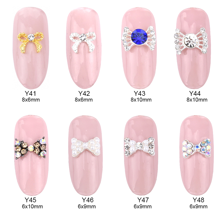 10pcs nail art pearl bow 3d alloy ab rhinestones bow tie for 3d nail decoration