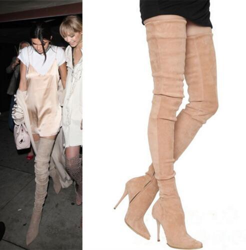Seksi nad kolenskim stegnom visoki škornji slim fit elastični semiša iz usnja s poudarjenimi škornji z visokimi petami