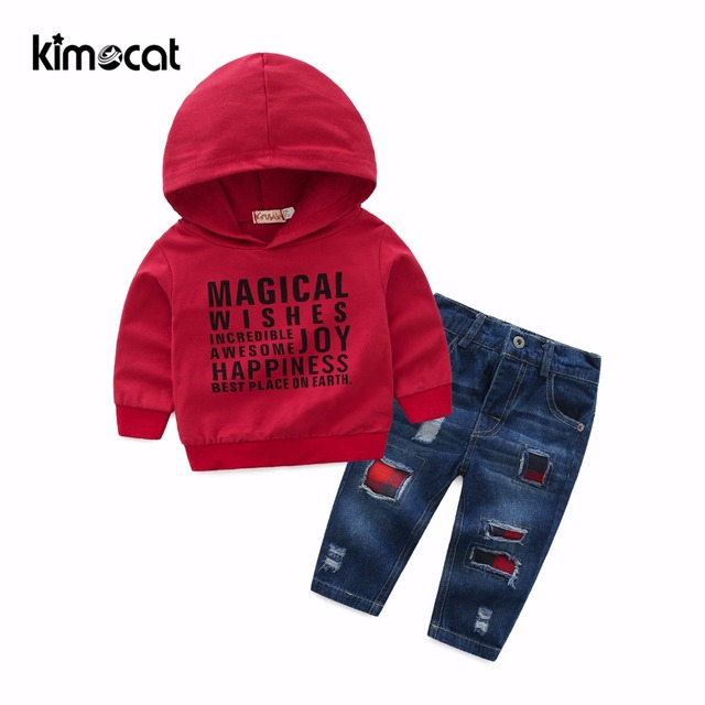 Kimocat Spring Autumn Baby Boy Clothes Long SLeeve Letters Printting Pullover Sports Wear Hooded+Jeans Boys Clothing Set 2pcs