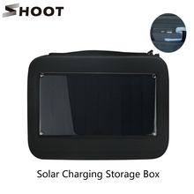 SHOOT Solar Charging Storage Box Case for GoPro Hero 5 4 3 Hero Session SJCAM SJ4000 Case Yi Camera and Phone Go Pro Accessories