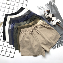 Summer new style Women's high waist cotton and linen shorts Linen casual and loose Korean wide leg hot shorts 2019 new korean high elastic waist shorts womens hip hop wide leg shorts summer casual loose 100