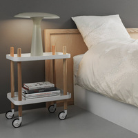 Modern Design popular Dining Table 2 Layer moving Side Table Solid Wooden Plastic Storage bedside multi function little cart