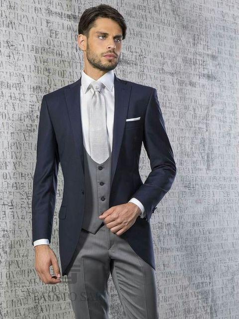 Latest Coat Pant Designs Navy Blue Formal Men Suit Slim Fit Groom ...
