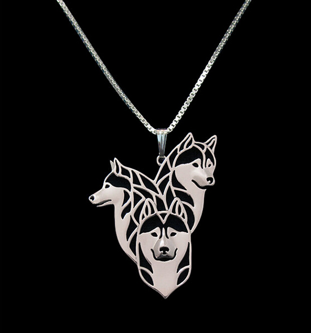 Hot Sale 10pcs Siberian Husky Family Necklace 3D Cut Out Puppy Dog Lover Pendant Memorial Necklaces Pendants Christmas