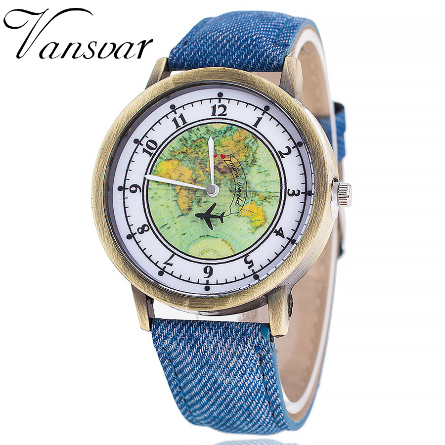 Vansvar Fashion Global Travel By Plane Map Women Watches Casual Denim Quartz Watch Casual Sports Watches relogio feminino 533Vansvar Fashion Global Travel By Plane Map Women Watches Casual Denim Quartz Watch Casual Sports Watches relogio feminino 533