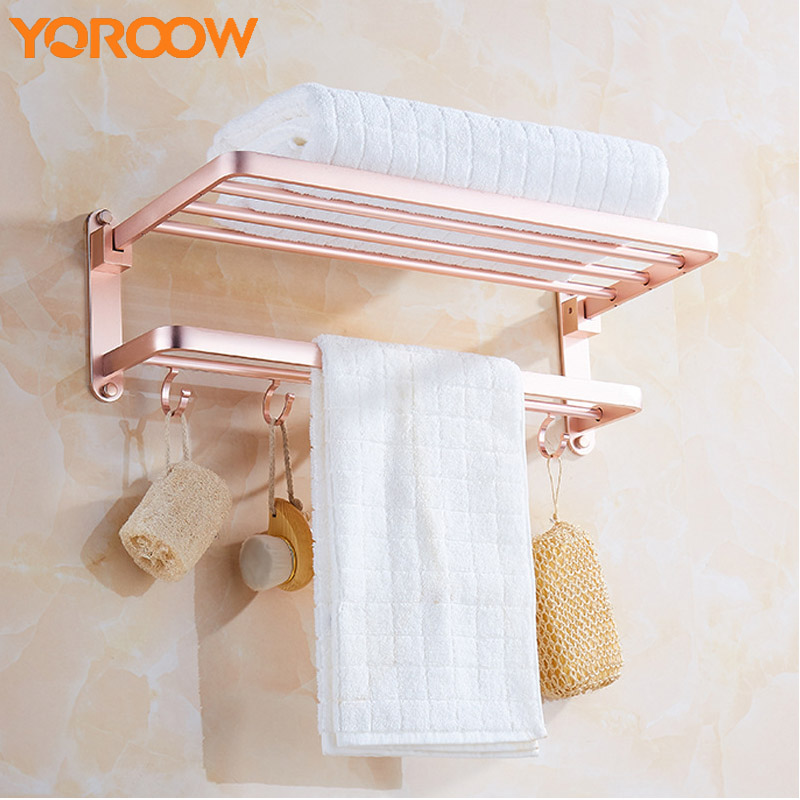 Rose Golden Bathroom Double Hook Bathroom Hanging Towel Rack Shower Shelves For Wall Shelf Storage Mounted Bath Holder SG0021 bath shelves bathroom shower shelf folding with towel bar robe hook