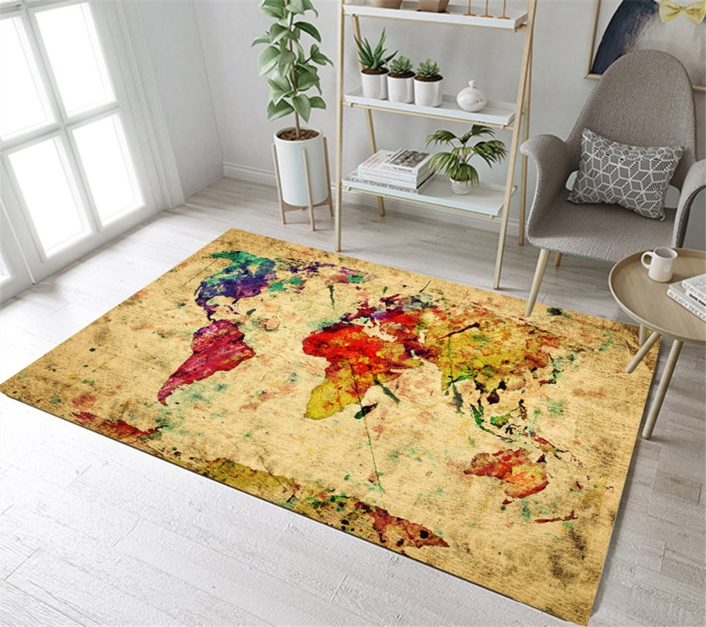 Old Vintage World Map Retro Colorful Home Children's Room