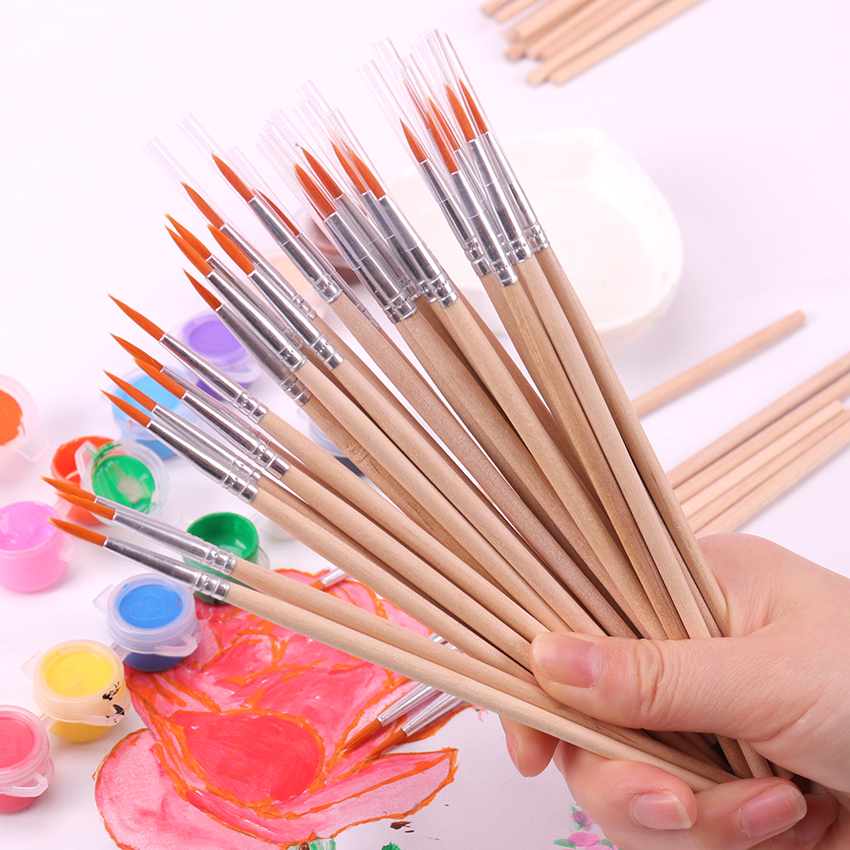 10PCS/Pack Fine Hand Painted Thin Hook Line Pens Wood Art Supplies Drawing Art Pen Paint Brush Nylon Painting Pen