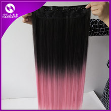 Stock Black Pink Color Straight Clip On Hairpieces  22″ 120g Ombre Synthetic 3/4 Full Head Clip In Hair Extensions