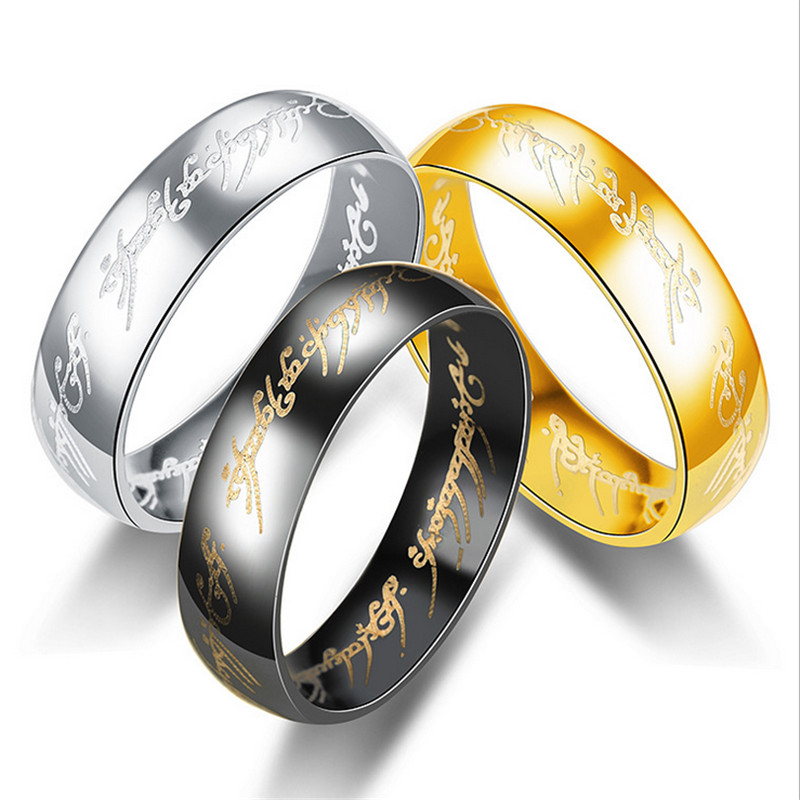 Lord Of The Rings Wedding Band.Silver Black Gold Color Lord Ring For Women Men Wedding Bands Rings Clear Fashion Jewelry Gifts 6mm Party Letter Ring Anel