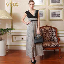 VOA Brand Silk Vintage Party Dresses Elegant Maxi V-Neck Sexy Jacquard Sleeveless 2017 New Arrival Vestidos Female A7685