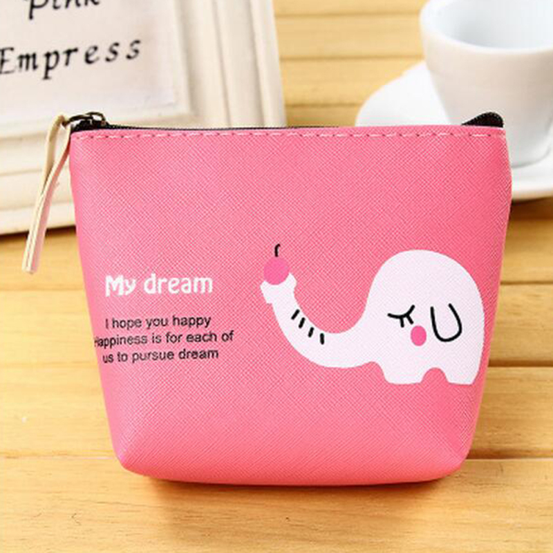 Cute Cartoon Elephant Zebra Coin Purse Colorful Pu Leather Small Wallet Clutches For Girls Kids Zipper Change Pouch Women Wallet