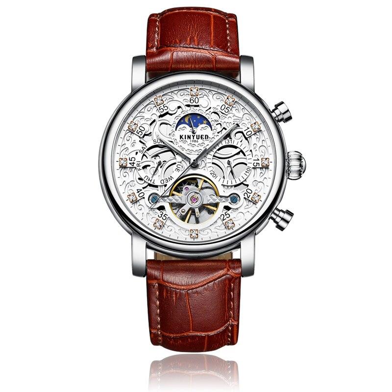 Kinyued Новый Топ Марка механические часы Для мужчин Hollow Скелет Tourbillon Автоматическая self-ветер стороны смотреть кожаный ремешок наручные часы