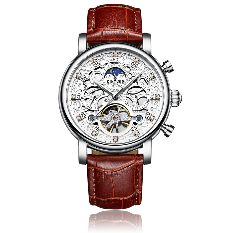 Kinyued New Top Brand Mechanical Watches Men Hollow Skeleton Tourbillon Automatic Self-wind Hand Watch Leather Strap Wristwatch retro hollow skeleton automatic mechanical watches men s steampunk bronze leather brand unique self wind mechanical wristwatches