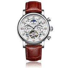 Kinyued Новый Топ бренд механические часы для мужчин полый Скелетон турбилон автоматический самоветер ручной часы кожаный ремешок наручные часы
