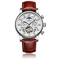 Kinyued New Top Brand Mechanical Watches Men Hollow Skeleton Tourbillon Automatic Self wind Hand Watch Leather Strap Wristwatch
