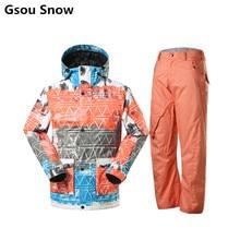 Gsou snow chaquetas y pantalones de snowboard de esquí de invierno chaqueta de los hombres trajes de esquí de montaña para los hombres impermeables jas esqui de esquí ropa de esquí