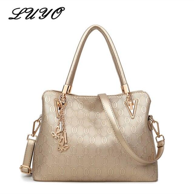 LUYO Brand Fashion Embossing Leather Handbag Gold Luxury Handbags Women Bags  Designer Pochette Crossbody Top-handle Bag Day 5421eaebc46eb
