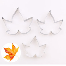 Maple Leaf Stainless Steel Clay Cutter Tools 3pcs/set Polymer Clay Tools Cutting kqh036 5 40 in 1 3d leaf pattern diy polymer clay decoration stick set multicolored