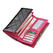 Genuine Leather Women's Wallets Patent Leather Long Large Capacity Ladies Wallets Clutch Design Purse Hand Bags Women Purses