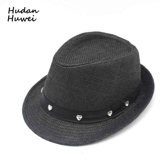 313f6fdf1e5 Men Women Children Summer Paper Straw Hat with 7 Heart-shaped Diamond Trilby  Gangster Cap