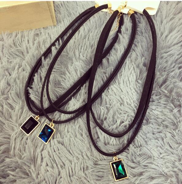2016 New Fashion Multilayer Black Imitation Leather Choker Necklace Gothic Chain Charm Gem Pendant Vintage Jewelry  XY-N606