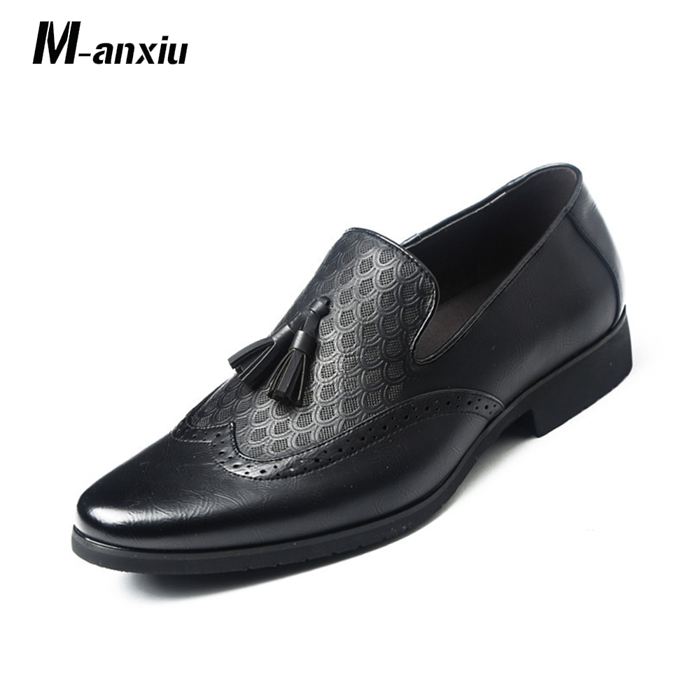 M-anxiu Retro British Style Carved Brogue Formal Dress Shoes Men Tassel Fringe Slip-on Loafers Breathable Casual Party Shoes high quality men fashion business office formal dress breathable cow leather brogue shoes gentleman tassel slip on shoe loafers