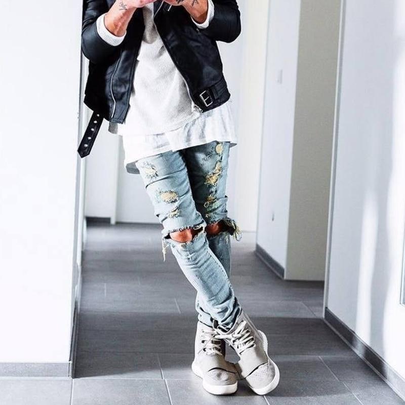 2017 Fashion Men Denim Pants Jeans Ripped Holes Skinny Elastic Slim Fit Cool Punk Long Trousers KNG88