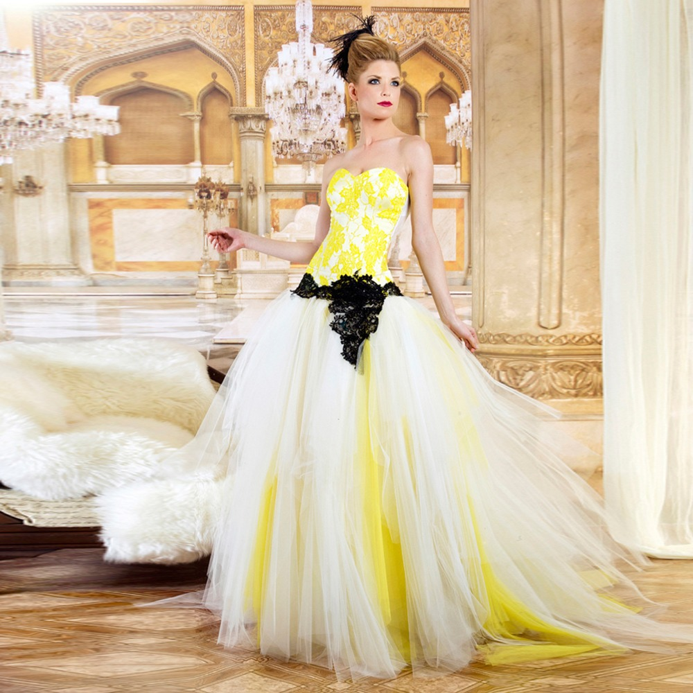 Strapless Sweetheart Ball Gown Lace Yellow And White