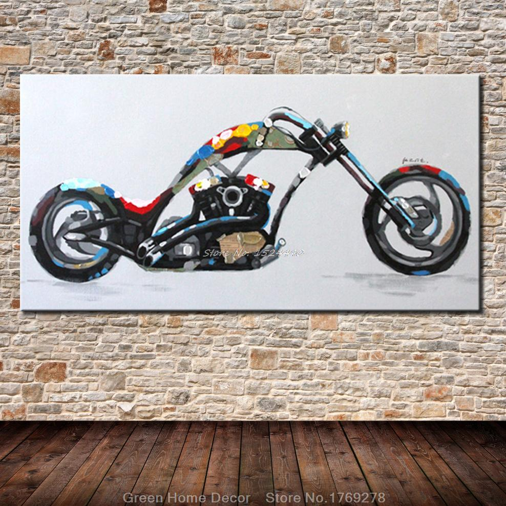 Free Shipping 100%Handpainted Cool Motorcycle - Morden Colorful Abstract Oil Painting On Canvas For Home Decoration Wall Art