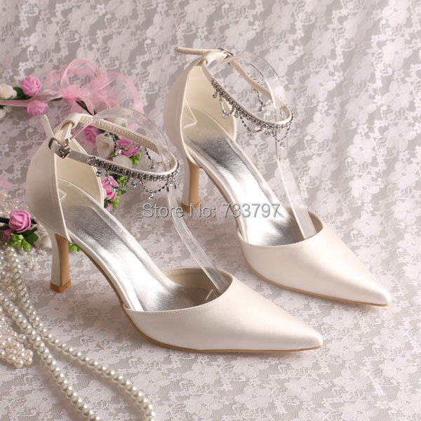 Wedopus Rhinestone Bridal High Heels Wedding Shoes 2014 Women Heels Ivory Pointy Toe