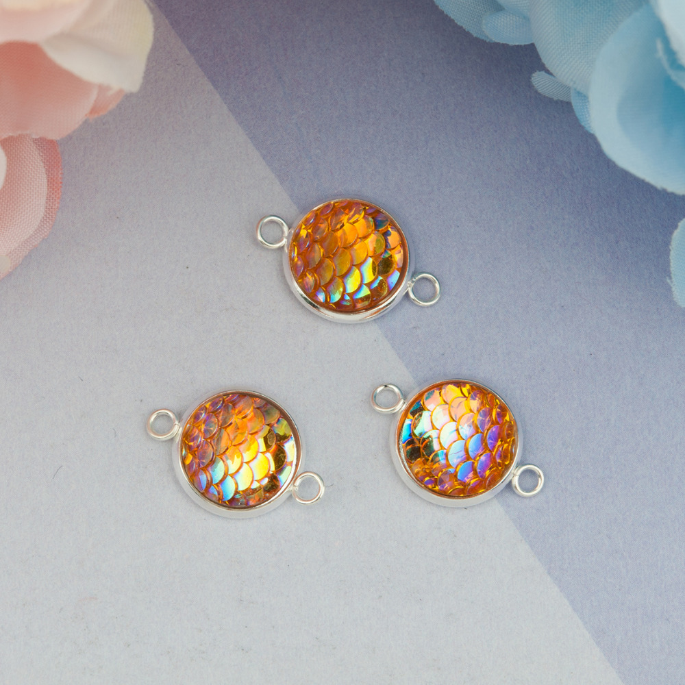 DoreenBeads Iron Alloy & Resin Mermaid Fish / Dragon Scale Connectors Round Silver AB Color 21mm( 7/<font><b>8</b></font>