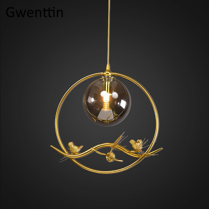 Modern Luxury Gold Pendant Light Fixtures Led Glass Ball Hanging Lights For Home Decor Living Room Bedroom Bird Lamp Luminaire Buy At The Price Of 97 58 In Aliexpress Com Imall Com