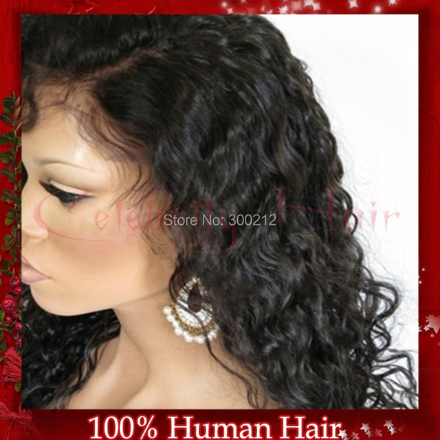 Best selling 130% density price Deep curly chinese virgin human hair natural color full lace wig for african american women