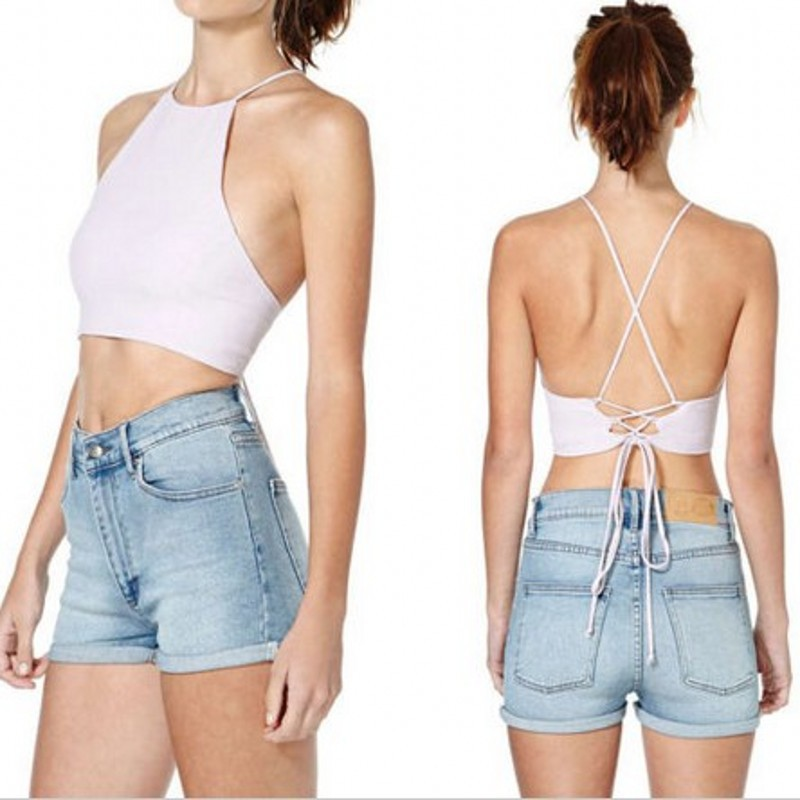 2a599e8b9cf73 2016 Bustier Short Crop Tops Spaghetti Strap ra Bustier Bralet Corsets Vest  Camisole tanks tops high neck crop top