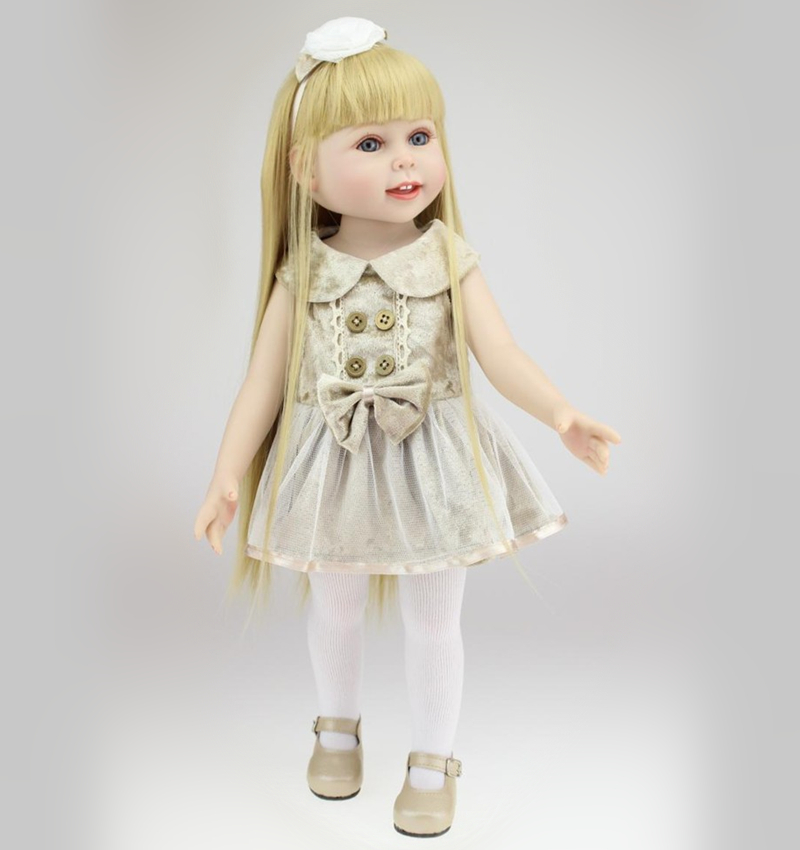 ФОТО New Arrival 18 inch Fashion Vinyl Girl Doll American Girl Doll with Beautiful Clothes Long Straight Blonde Hair