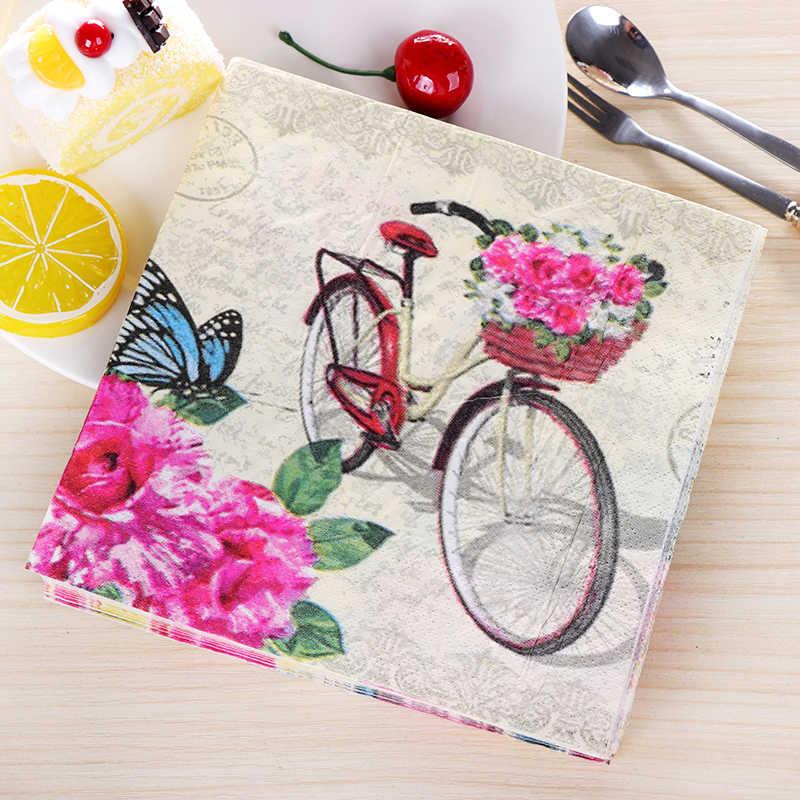 20 винтажные салфетки бумажные ткани печатные розовый цветок бабочка велосипед Декупаж Салфетки свадебный стол Декор носовой платок