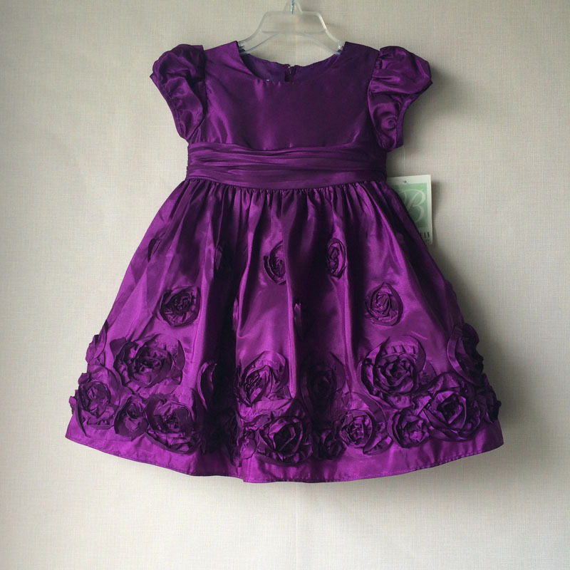 Bonnie Jean Purple Color Baby Dresses With Flowers Girl Free Shipping-in