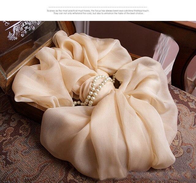 100% Silk Scarves for women 2016 Autumn winter Nude beidge big silk scarf luxury tubular bandana Arabic jersey hijabs Wraps