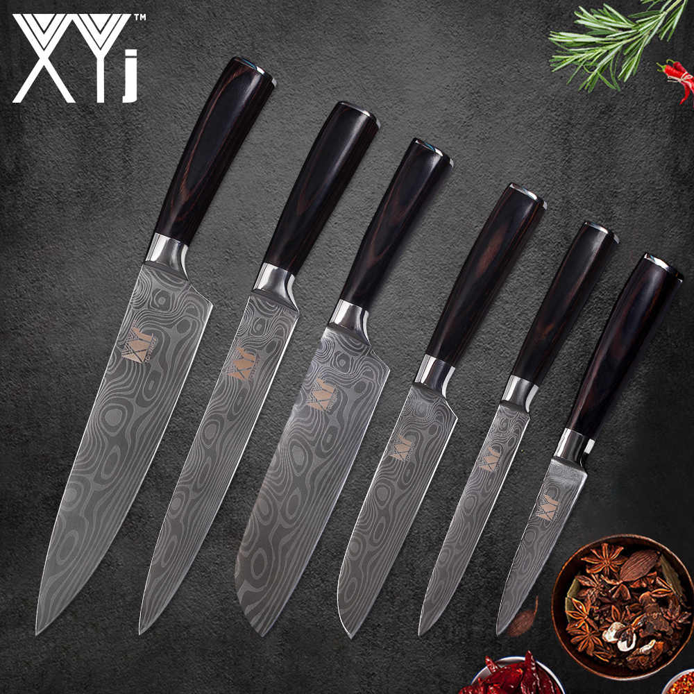 XYj Cooking Stainless Steel Knife Set Meat Vegetable Kitchen Tools Chef Slicing Santoku Utility Paring Damascus Pattern Knives