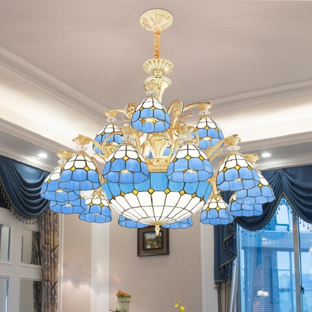 Modern Luxury Led Chandelier Lighting Remote Control Tiffany Style Re Ceiling Crystal For Living