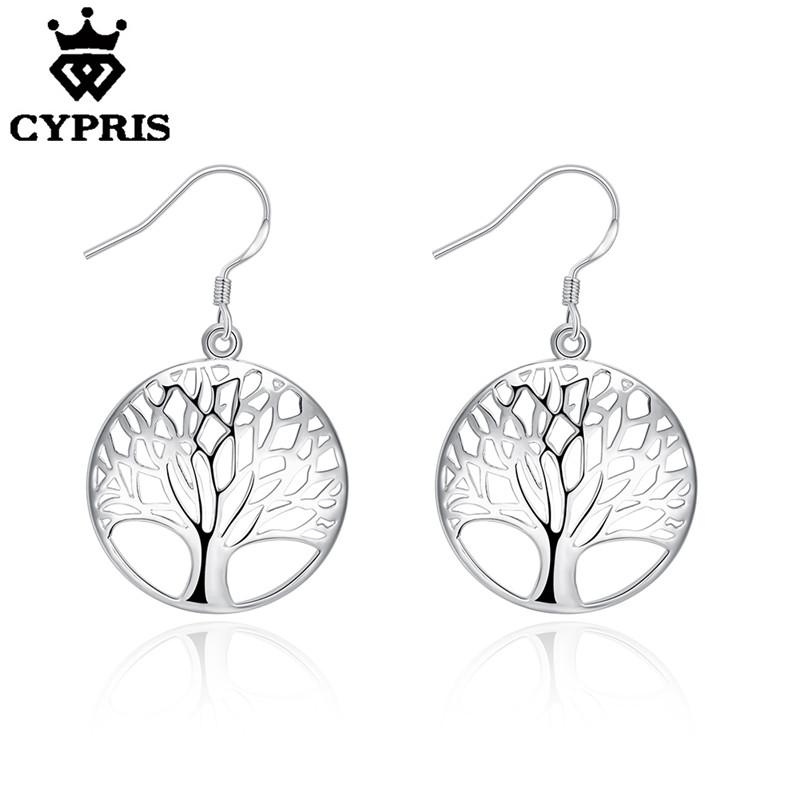 hot elegant silver tree of life drop earrings totem gift