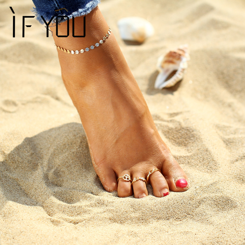 IF YOU New Trendy Foot Rings Set Women Peace Love Infinity Toe Rings Summer Gold Color and Silver Color Female Bohemia Jewelry