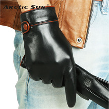 Fashion Men Genuine Leather Gloves Top Quality Touchscreen Goatskin Winter Plus Velvet M034NC2