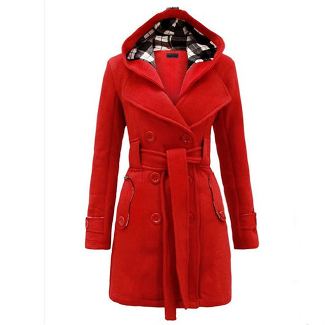 Women Trench Coat 2017 New Plaid Hooded Wool Coat Double-breasted Long Coat Belt Long Trench Coat For Women