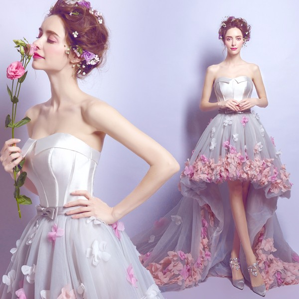 Flower Prom Dress Short Front Long Back Homecoming Gown